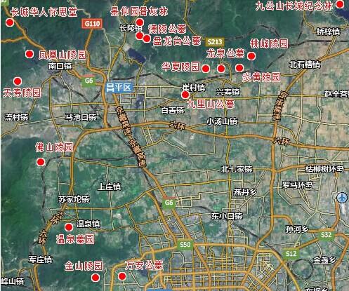 北京市昌平区墓地分布