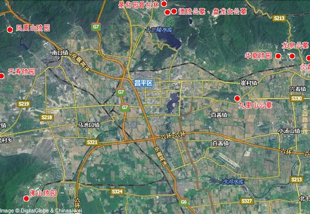 北京市昌平区墓地分布图